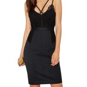 Nasty Gal Lace Corset Boudoir Dress in Black